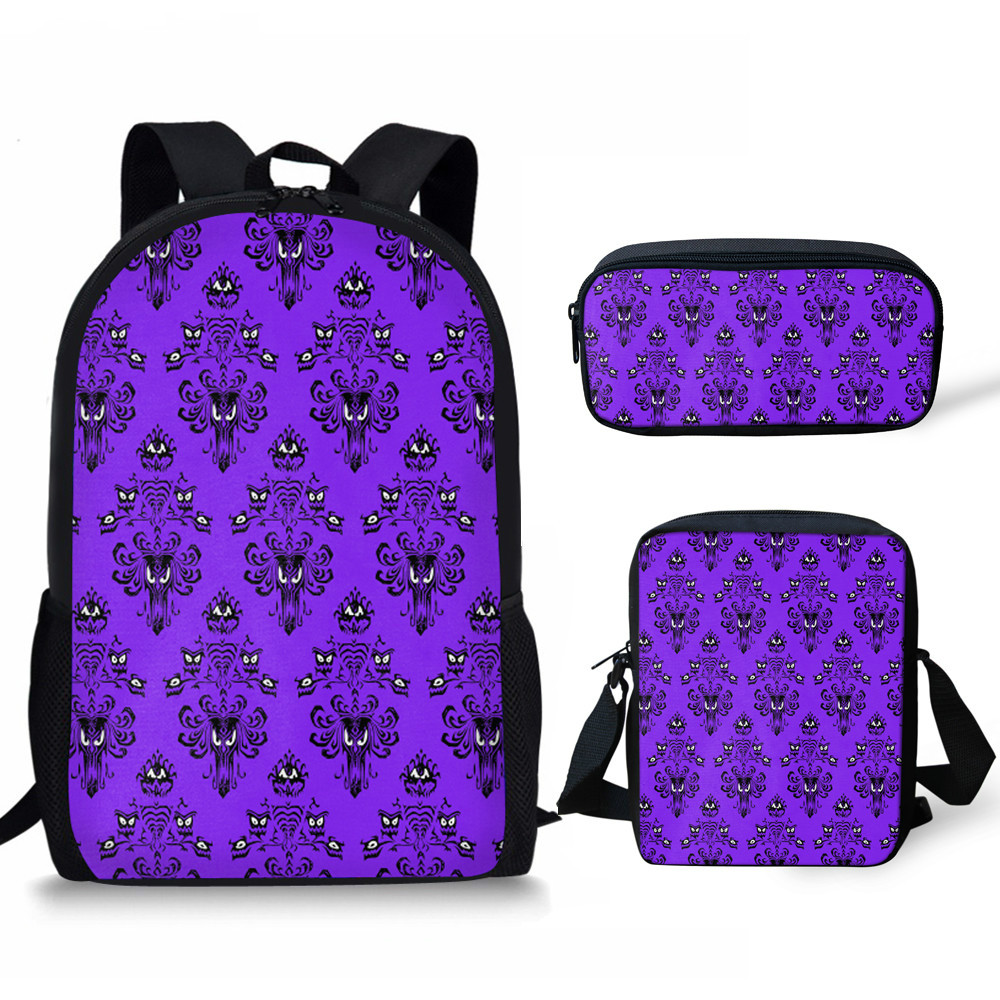 THIKIN Haunted Mansion Printing 3pcs/set School Bags For Teenager Boy Girls Schoolbag Backpacks Bookbag Women Daily Mochila