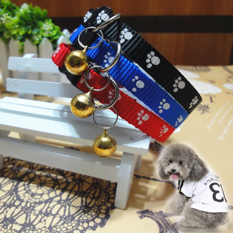 1pc New Pet Lovely Small Footprint  Bell  Pet Collar Adjustable Nylon Fabric Dog Printing Puppy Teddy Cat  Kitten