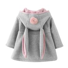 Autumn Winter Baby Outwear Rabbit Ear Hooded Princess