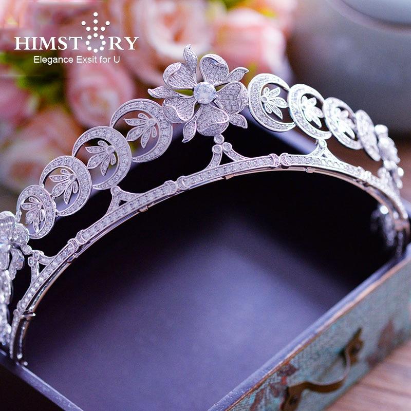 Himstory luksusowe pełna AAA cyrkon korona włosów srebrny kwiat księżniczka diadem dla panny młodej balu ślubne akcesoria do włosów biżuteria w Biżuteria do włosów od Biżuteria i akcesoria na  Grupa 1