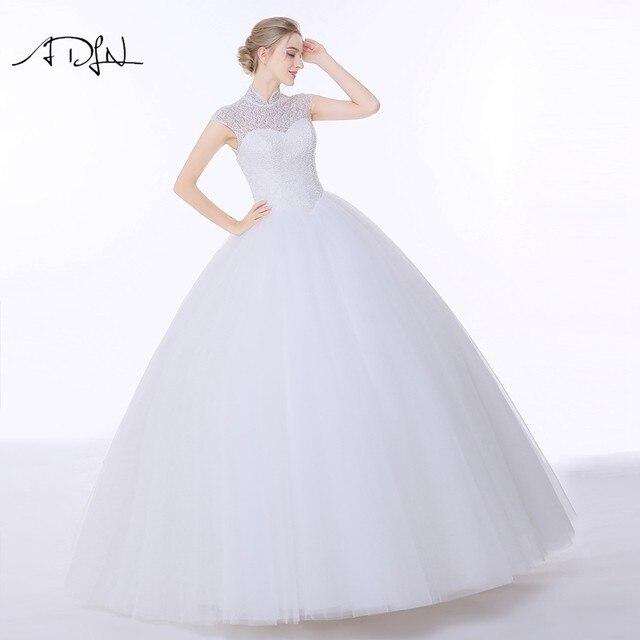 Online Shop Adln Vintage High Collar Wedding Dresses With Open Back