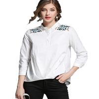 Loose Casual Short Front Back Long Solid Cotton Shirt Women 3 4 Sleeve Floral Embroidery Tops