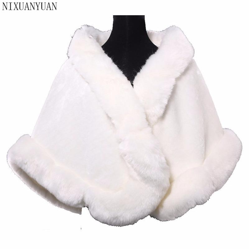 Bridal Wraps Winter Faux Fur Stole Bridal Winter Coat Ladies Evening Jackets Wedding Shawl Shrug Boleros