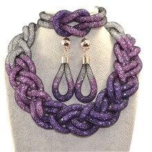 2017 apresurado superior de la manera shinning purple rhinestone de la resina collar pendientes pulsera joyería de la boda para las novias