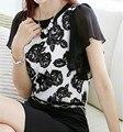 Mulheres da moda verão camisa Lazer O Pescoço floral pétala camisa de manga Chiffon