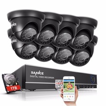 SANNCE 8CH 1080P HDMI CCTV System 8pcs 720P Dome Security Cameras IR Night Vision Outdoor CCTV Video Surveillance Kit 1TB HDD