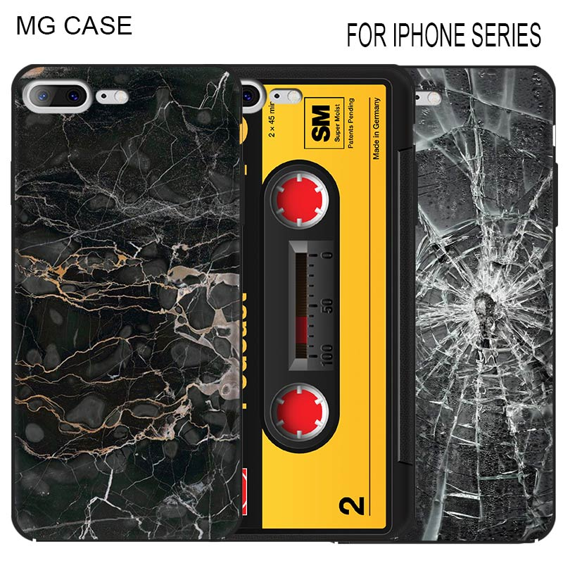 Retro Tape Marble Pattern Imitate Parts Mobile Phone Shell Cover Bag Case For Iphone Apple 5 5C 5S SE 6 6S 6SPlus 7 8 7/8Plus X