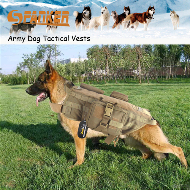 df2112dbe3878 Army Tactical Dog Clothes Vests Sets Outdoor SWAT Military Dog Winter Coat  Load Bearing Harness Hunting Dog Training Molle Vest