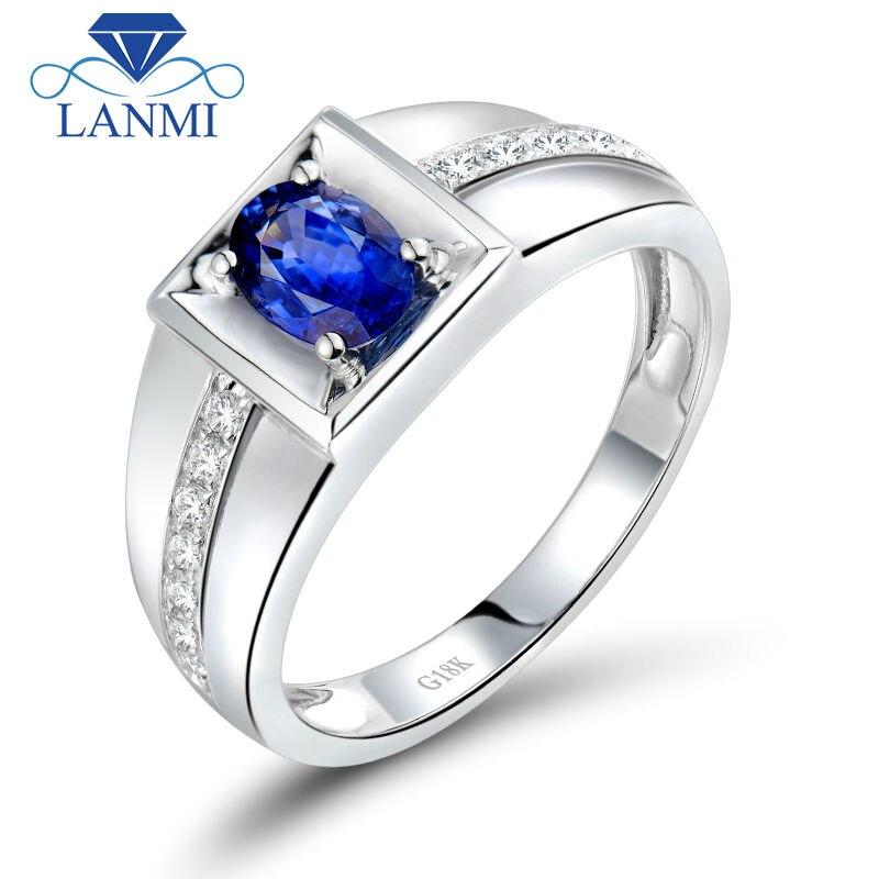 Благородный овал 4x6 мм натуральный синий сапфир кольцо для Для мужчин в твердой 18kt белого золота обручальное кольцо, 750 белое золото кольцо с