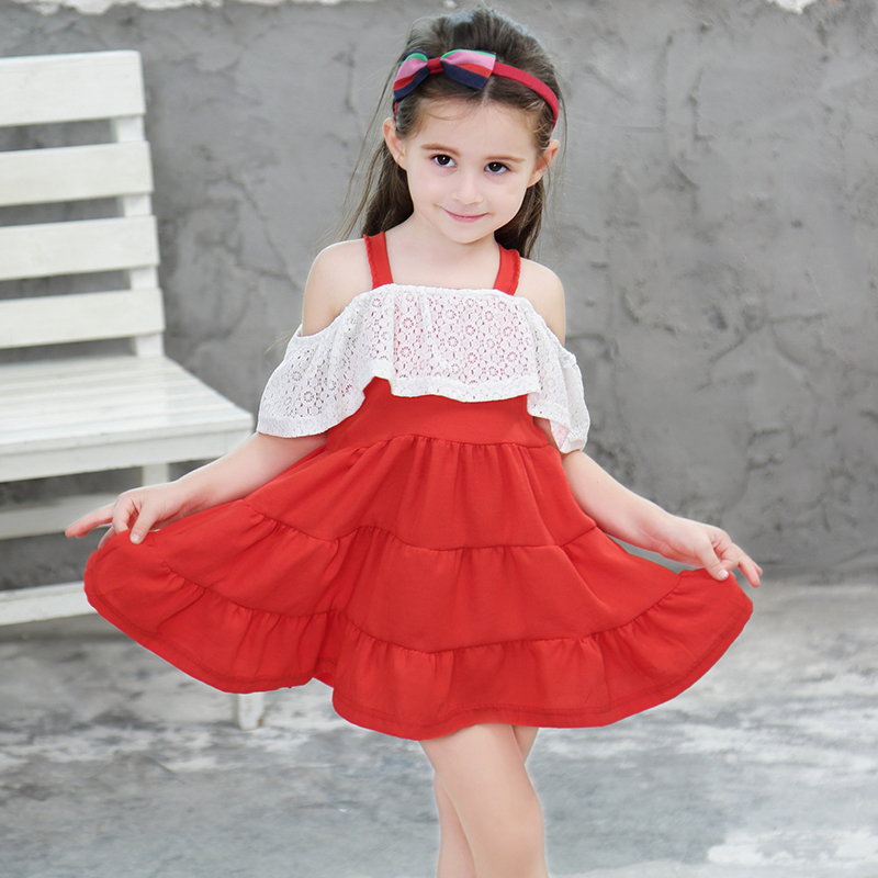 US $14 59 |Lace Princess Dress For Girls Sweet Fashion Sleeveless Cute Girl  Dresses Children Braces Dress Party Kids Clothes Clothing-in Dresses from