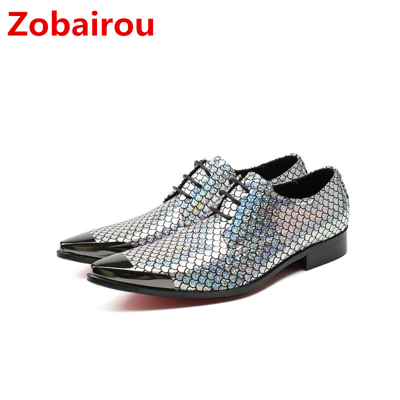 2018 Italian Shoes Men Leather Spiked Heels Gold Silver Loafers Wedding Dress formal shoes Glitter Zapatos Hombre