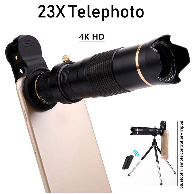 Universal HD 4K 15x 23x Zoom Mobile Phone Telescope Lens Telephoto For Smartphone Camera Monocular With Bluetooth &Tripod