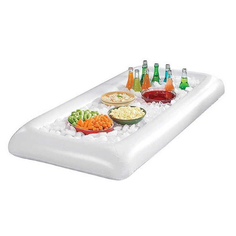 PVC Inflatable Ice Bar Inflatable Beer Meja Kolam Renang Float Ummer Air Pesta Kasur Udara Ice Bucket Menyajikan Salad Bar Nampan makanan