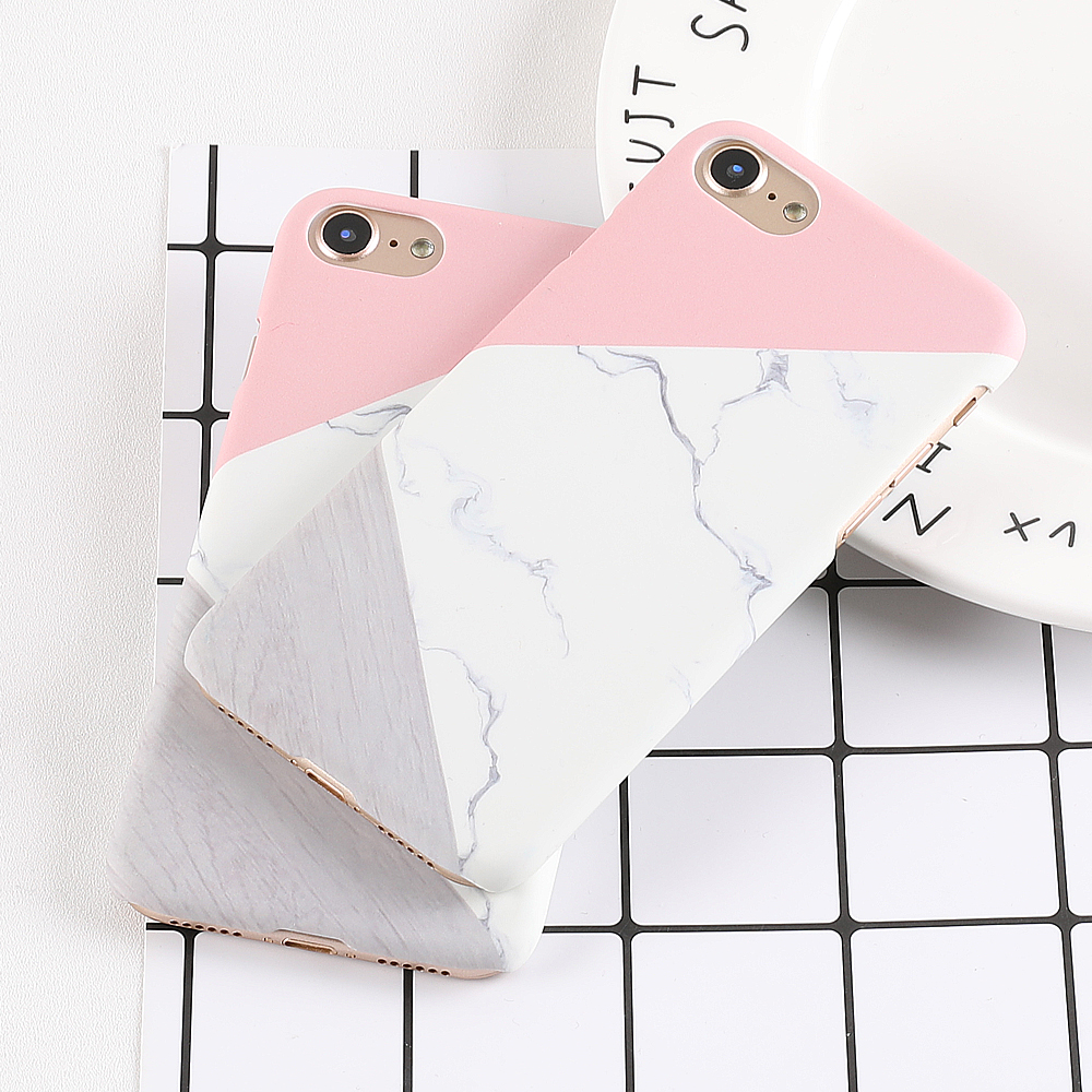 LOVECOM Phone Case For iPhone 5 5S SE 6 6S 7 8 Plus X XS XR XS Max Pink Splice Marble Print Frosted Hard Phone Back Cover Cases