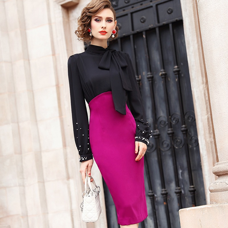 Office Lady Pencil dress Spring 2019 new Full Sleeve Women Beading Party Dress Plus Size Knee