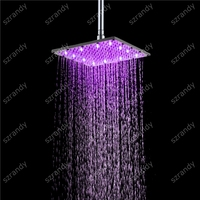 Luxury 10 Inch Rainfall Stainless Steel Shower Head Bathroom LED Square