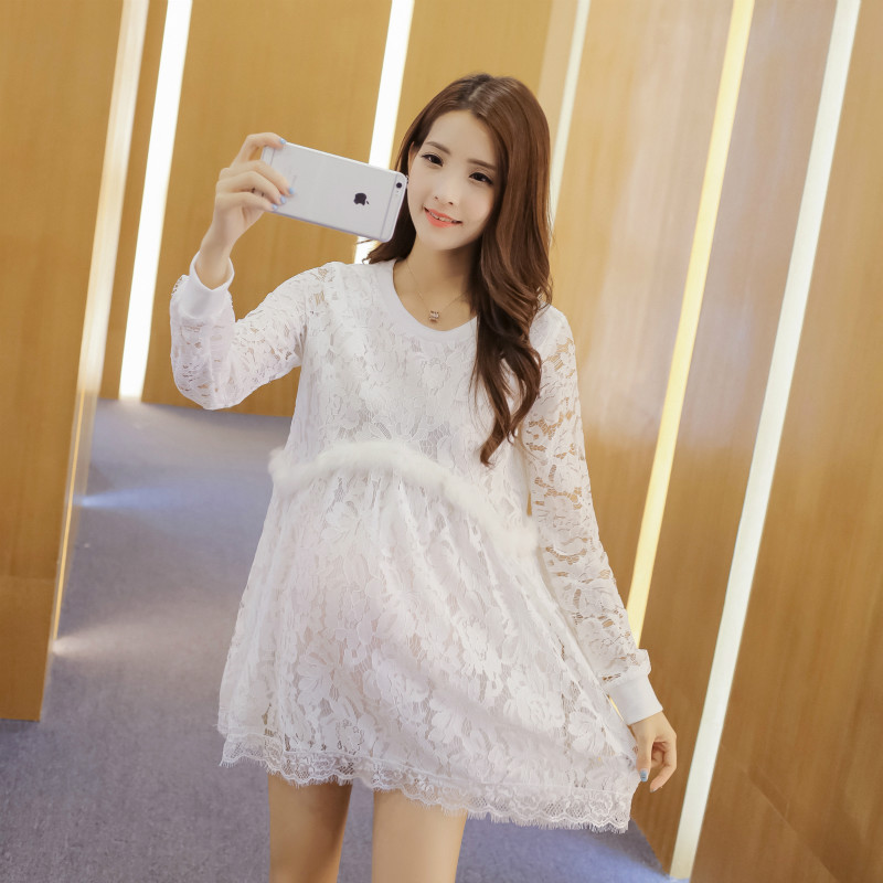 2016 robe de grossesse shooting Pregnant women white lace dress fashion long sleeved mat ...