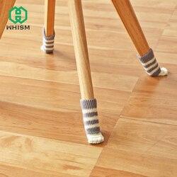 Whism 4 pçs anti deslizamento esteira amortecedor bonito móveis pés perna tapete tampões feltro almofadas gato garra cadeira perna meias protetor de mesa