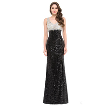black sequined long Prom 2018 new hot sexy robe de soiree courte saree party gow