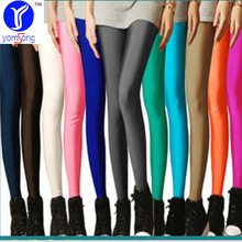 GOPLUS 2016 Solid Candy Color Neon Legging for Women High Waist Stretched Leggings Elastic Clothing Plus Size Ankle Length Pants