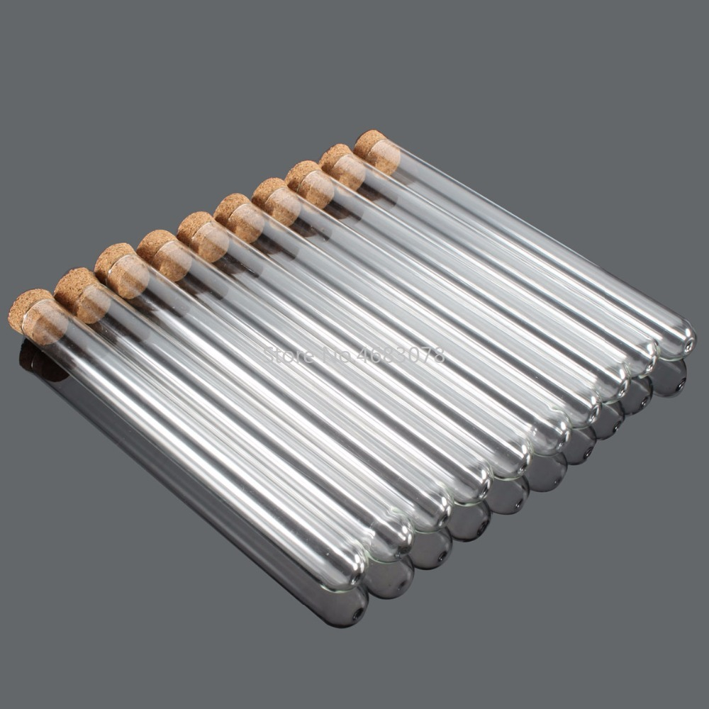 100pcs 16x150mm Plastic Test Tubes With Cork stopper Clear Like Glass, Laboratory School Educational Supplies