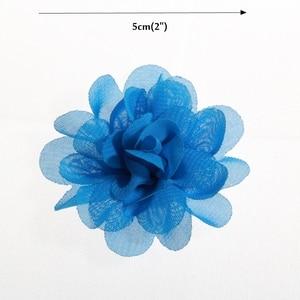 """Image 3 - Buquê boutique de flores de chiffon para cabelo, 20 peças, 5cm, 1.97 """", acessórios para cabeça de cabelo, tecido sem uso diy clipes clipes"""