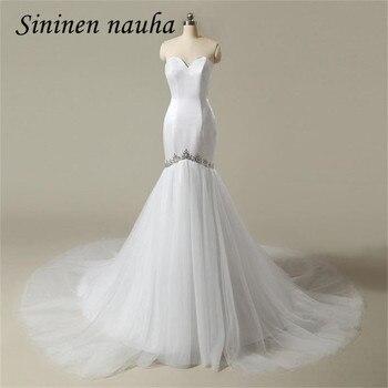 Sexy Barato Sereia Vestidos de Casamento 2017 Querida Cristal Vestido de Noiva Plus Size do Assoalho-Comprimento Vestido De Noiva Robe De Mariage