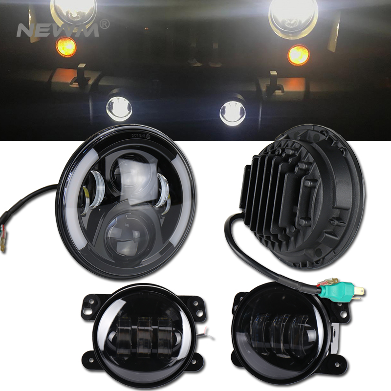 7 Inch LED Halo Headlights + 4 Inch LED Fog Light DRL Combo Kit For Jeep Wrangler JK 2007-2017 funlight 30w 4 inch auto round led fog light with angle eye for jeep wrangler jk 2007 15