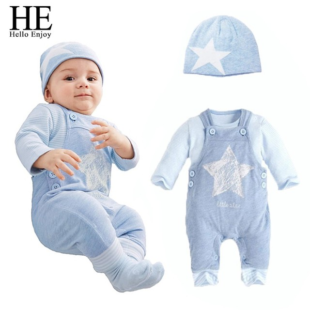 HE Hello Enjoy Baby boy clothes New 2017 Casual sky blue newborn Baby clothing set Long sleeve print stars overalls jumpsuits