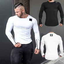 New Fashion Men Tops Muscle Slimfit Sweatshirt Pullover Casual T Shirt Gyms Shirts Sporting Full Sleeve Workout Clothes