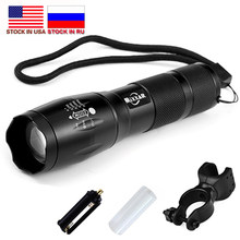 Dropshipping T6 8000 Lumens Flashlight LED Torch 5 Mode Zoomable LED Flashlight Bike Bicycle Light by 18650 Battery Stock in RU(China)