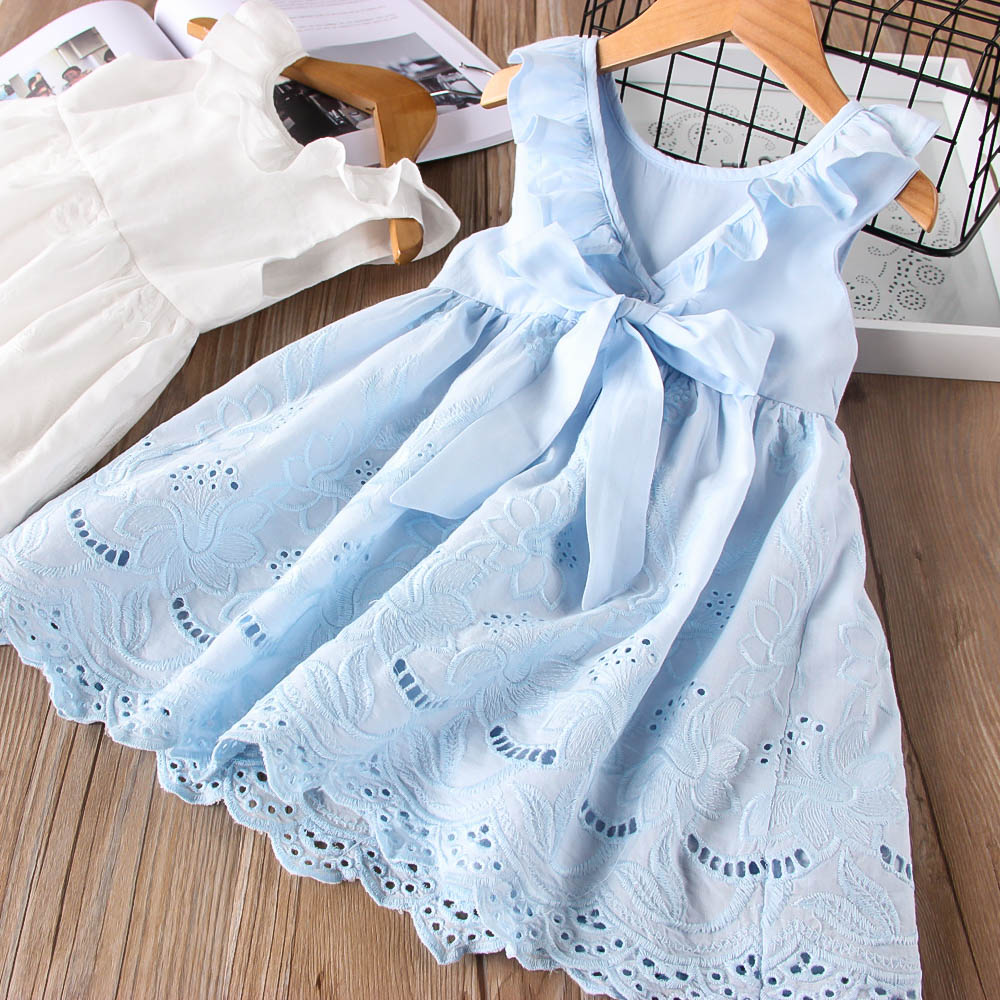 Hurave Baby Girl Ruffles Drawstring Bow Clothes Children Embroidery Sleeveless Dresses Kids Clothes Crew Neck  Dress