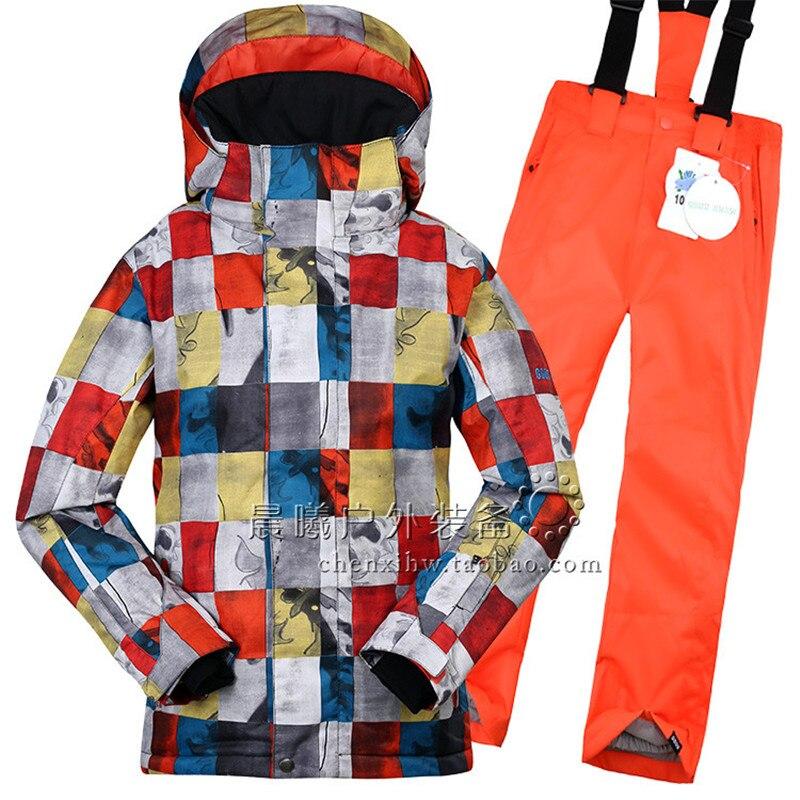 GSOU SNOW enfants garçons ensemble de vêtements d'hiver veste de Ski + pantalon combinaison de neige-20-30 degrés costume de Ski imperméable pour enfants en plein air - 2