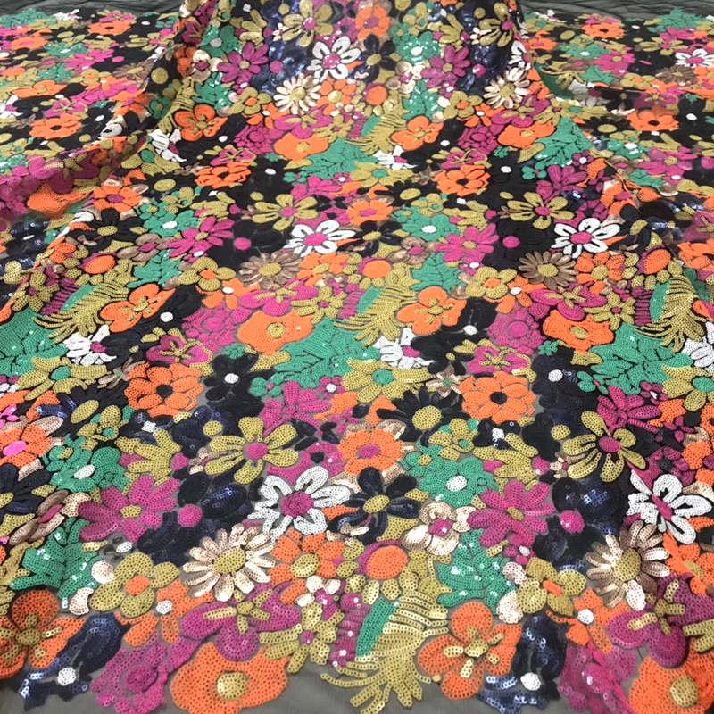 Najwyższej klasy francuski koronki tkaniny wysokiej jakości kolorowe kwiaty afryki koronki haftowane tkanina z cekinami na wesele DG197 w Koronka od Dom i ogród na  Grupa 1