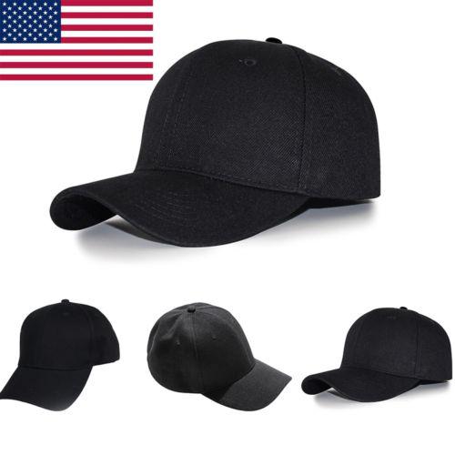 New Men/'s Women Black Baseball Cap Snapback Sun Hat Hip-Hop Adjustable Bboy Caps
