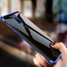 Case for Oneplus 7 Pro Case Luxury Transparent Bumper TPU Silicone Shockproof Anti-slip Plating Cover Case for Oneplus 7