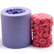 Silicone Candle Mold 3D Cylindrical Sunflower Cake Baking Decoration Mold Handmade Soap Mold Making