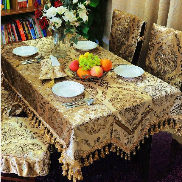 SMTT001 130 180cm customization European style gold ice velvet flowers print tablecloths table mats chair covers