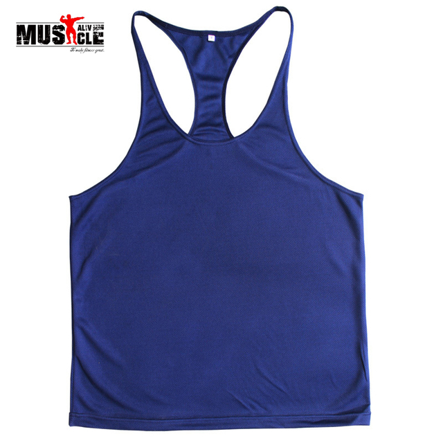 bf0d619ae MUSCLE ALIVE Plain Deepcut Bodybuilding Stringer Singlets Golds Tank Tops  Fitness Workout Racerback Quality Wholesales