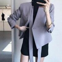 2018 Women Autumn Winter V neck Blazer Female Long Sleeve Purple Coat Suit with Belt Single Button Elegant Jacket Tops