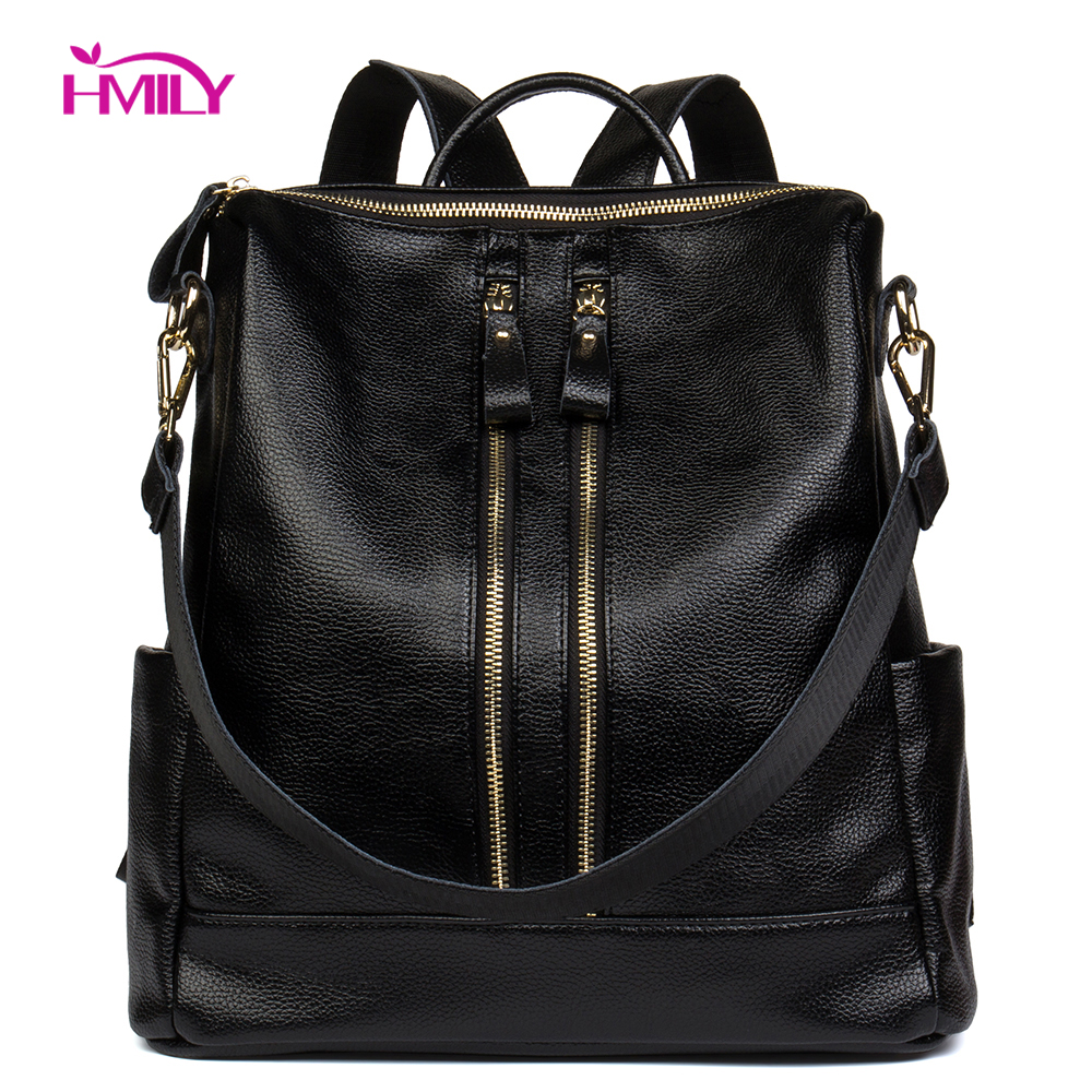 HMILY Backpack Female Genuine Cow Leather Women Knapsack Zipper Trendy Ladies Shoulder Bag Classic Black Women Travel Bag Daily цена 2017