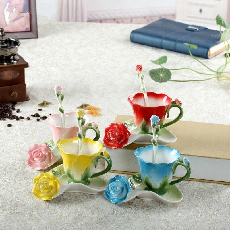 3D Rose Enamel Coffee Tea Milk Cup Set With Spoon and Saucer Creative Ceramic European Bone China Drinkware Marriage Gift