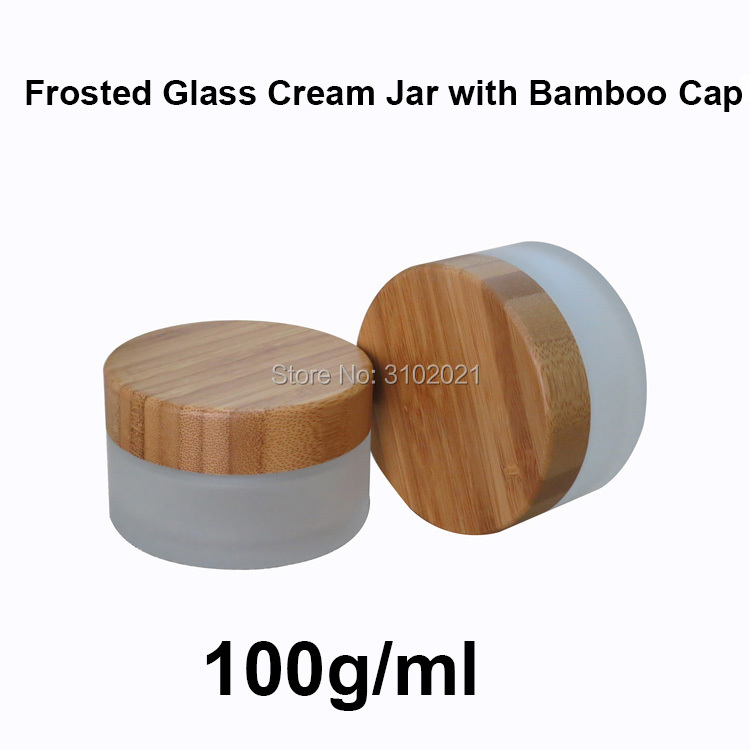 10pcs 100g Empty Frosted Glass Cream Jar Pot with Bamboo Cover Lid 100ml Dull Polish Glass