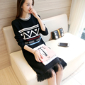3738 - autumn new long - sleeved striped sweater fringed hem inverted triangle sleeve head 50