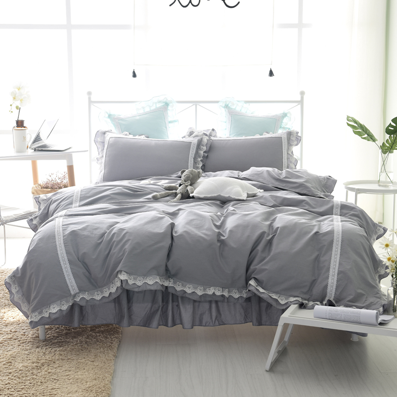 Princess Style Bedding Set Gray Bed Skirt Lace Duvet Cover