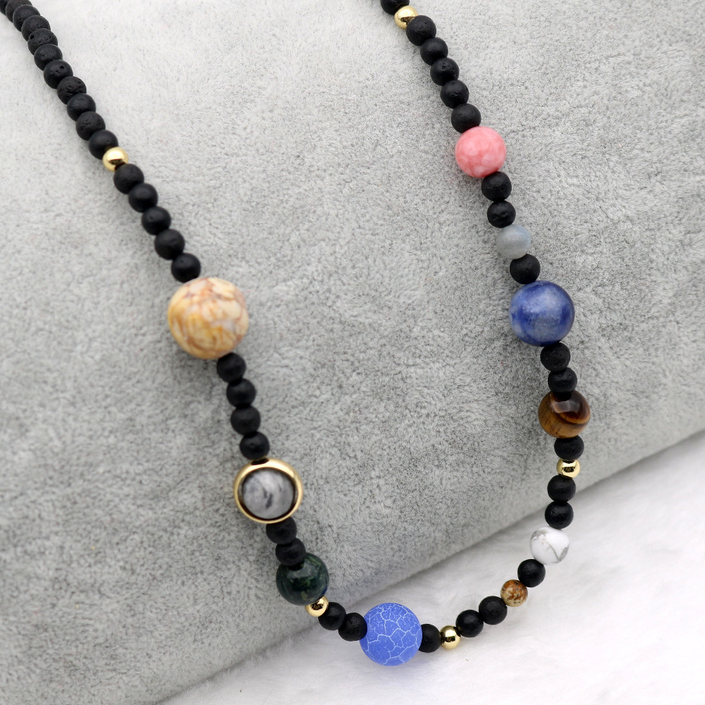 9 Planets In The Solar System Space Cosmic Galaxy Nebula Dome Beaded Necklace Women Birthday Valentine Anniversary Jewelry