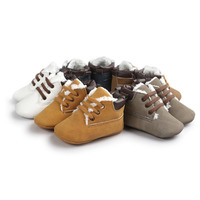 Khaki Lace Up Baby Boots Winter Fleece Toddler Shoes Soft Indoor Footcovers