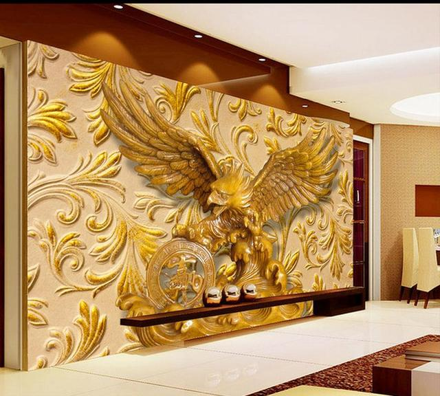 3d nature wallpapers Eagle sculpture wood carving living room TV ...