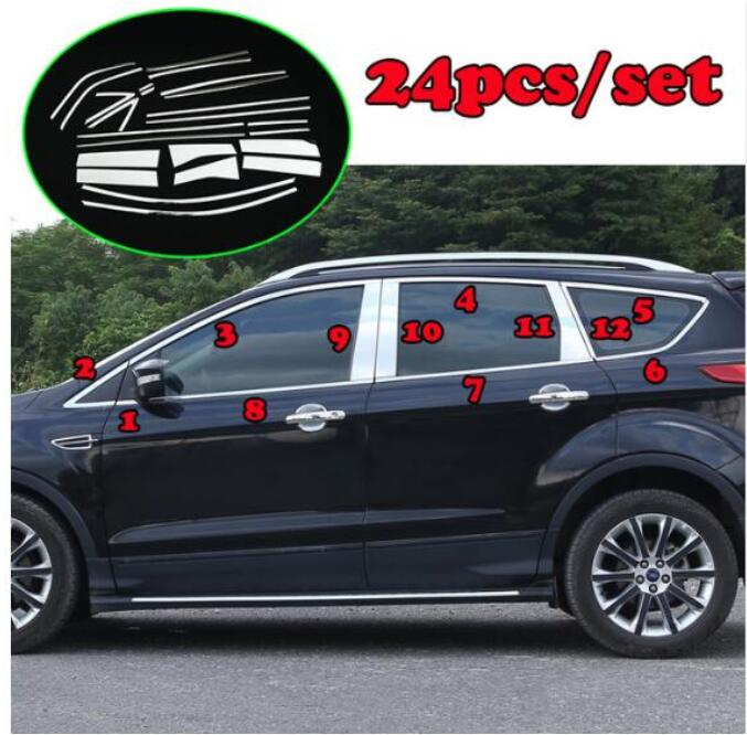 CHROME SIDE DOOR WINDOW SILL TRIM COVER STRIP LINE FIT FOR FORD ESCAPE KUGA  13