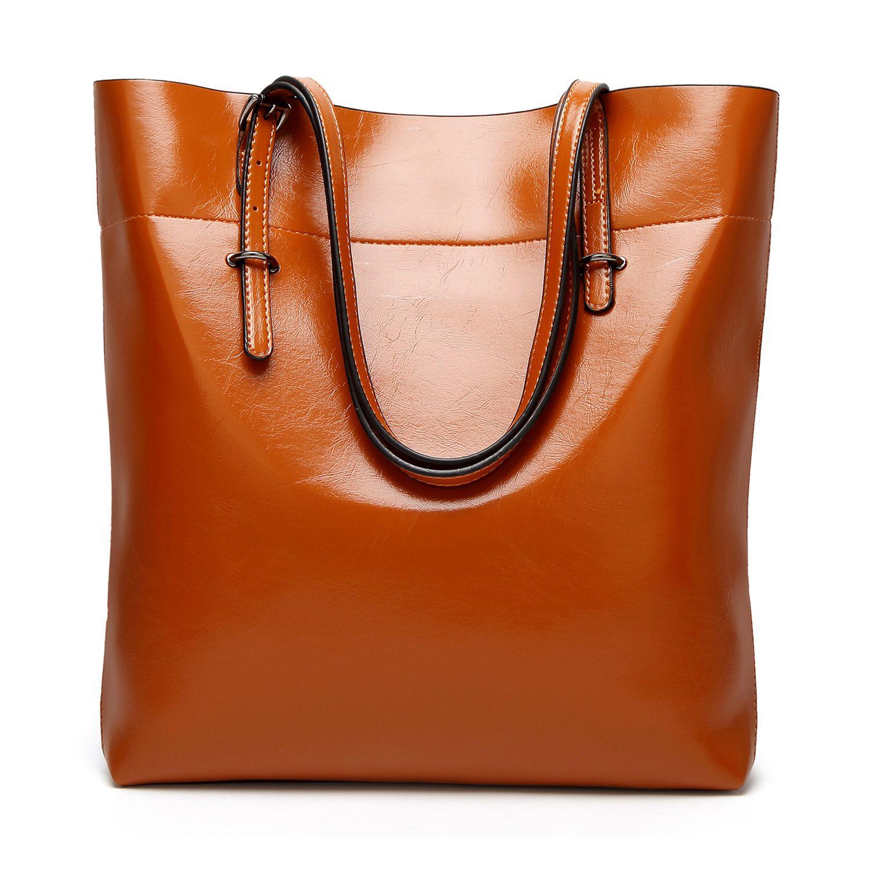 Women\'S Soft Leather Work Tote Shoulder Bag